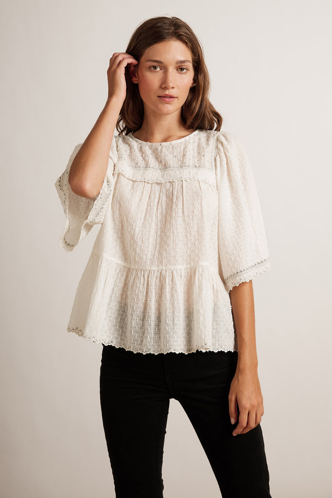 RAINA SWISS DOT BLOUSE IN OFF WHITE