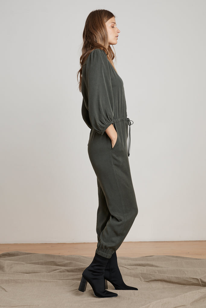 HARPER PUFF SLEEVE TENCEL JUMPSUIT IN THICKET