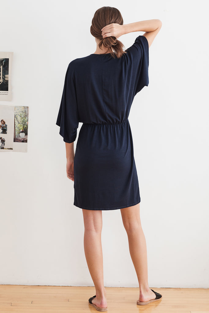 AMANDA TENCEL JERSEY KNOT FRONT DRESS IN CADET