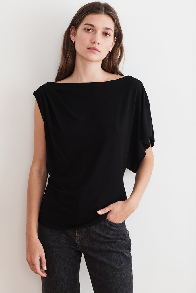 DENICE TENCEL JERSEY TOP IN BLACK