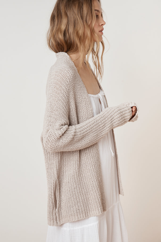 FELICE DROP SHOULDER TEXTURED CARDIGAN IN PUTTY