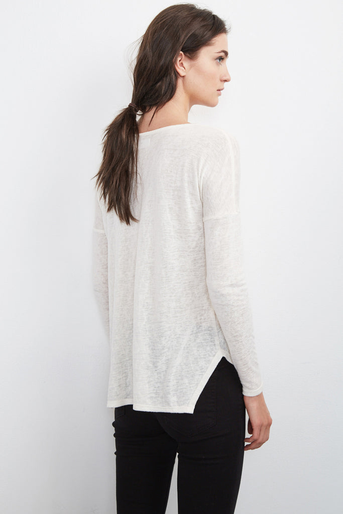 DARIYA TEXTURE KNIT TEE IN STRAW
