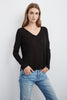ERENA LONG SLEEVE KNIT TEE IN BLACK