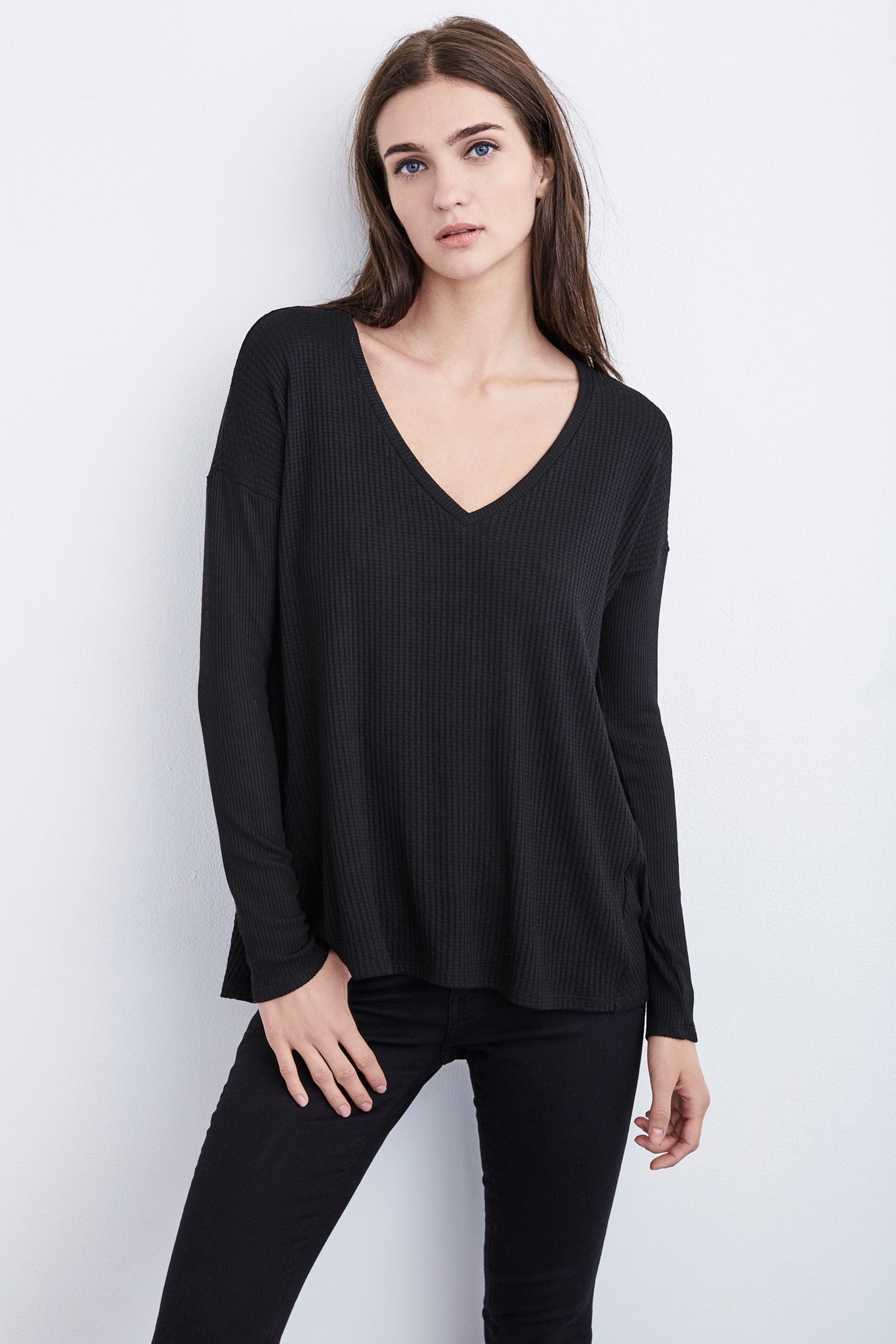 ALANIS THERMAL KNIT SWING TOP IN Black