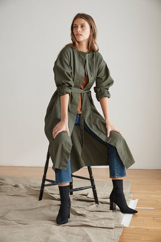 ADRIAN COTTON CANVAS TRENCH COAT IN FOREST