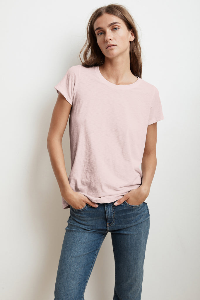 TRESSA SHORT SLEEVE CREW NECK TEE IN BUBBLE