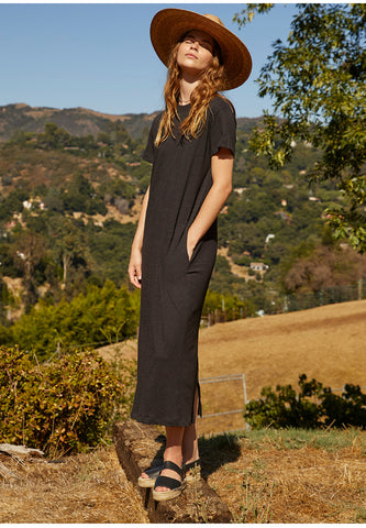AIDA VINTAGE SLUB MAXI DRESS IN BLACK