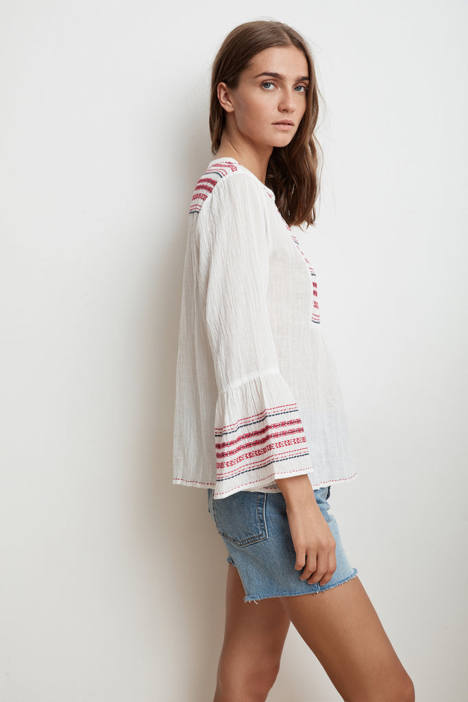 ZALEY EMBROIDERED URSULA GAUZE PEASANT TOP IN CREAM