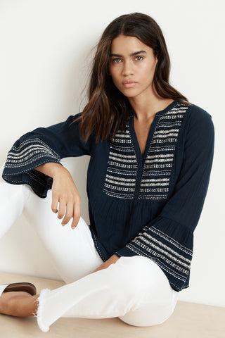 ZALEY EMBROIDERED URSULA GAUZE PEASANT TOP IN NAVY
