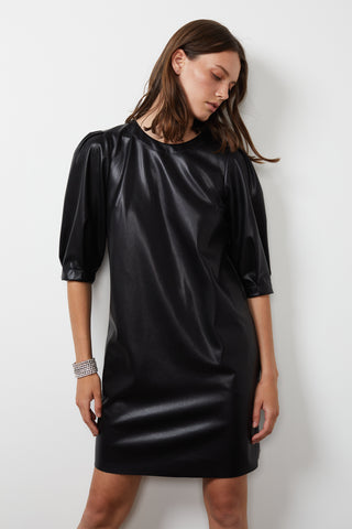 PAM VEGAN LEATHER DRESS IN BLACK