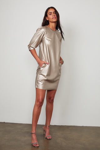 PAM VEGAN LEATHER DRESS IN METALLIC