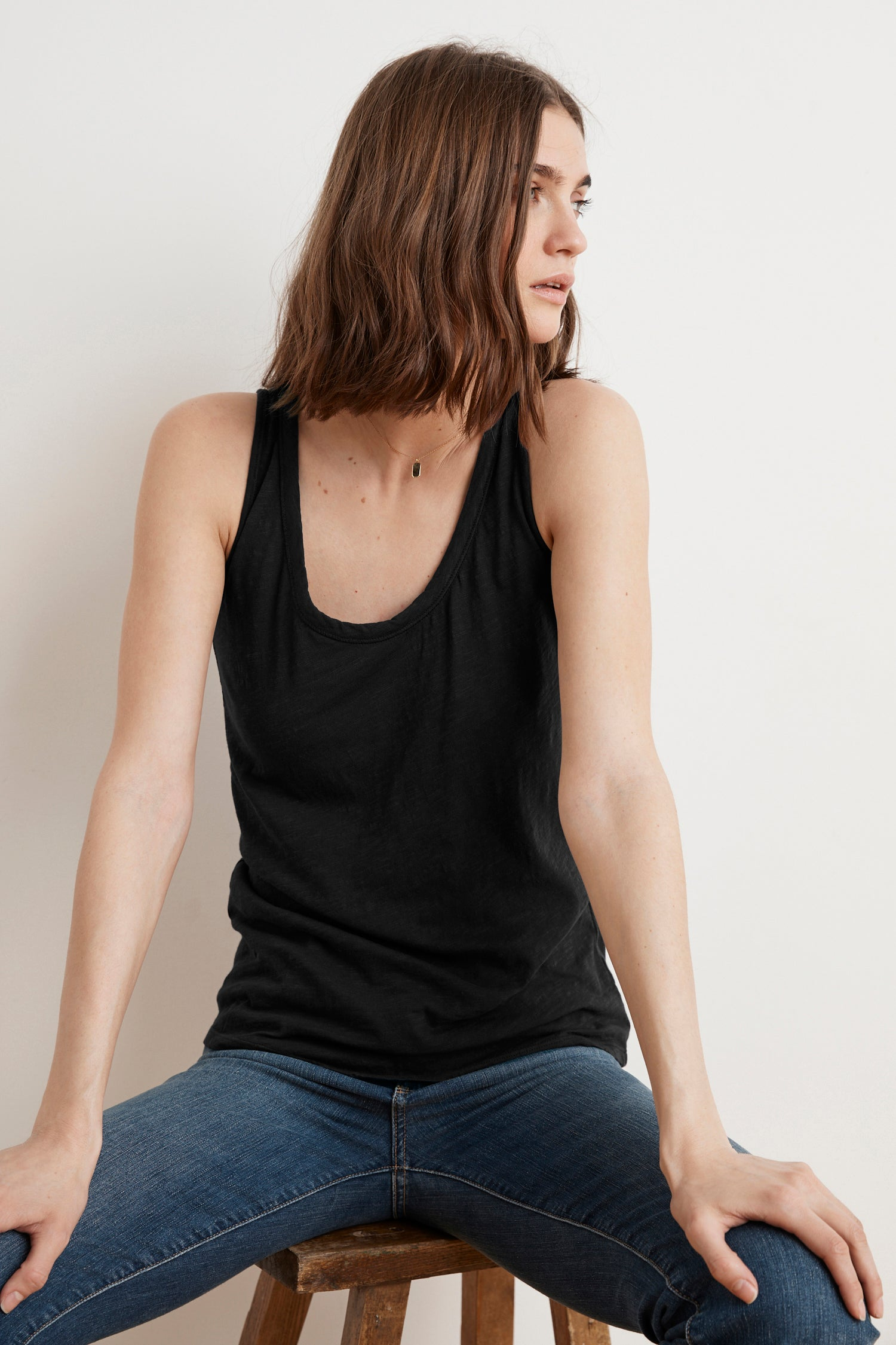 JOY ORIGINAL SLUB SCOOP NECK TANK IN BLACK