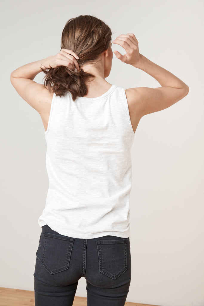 JOY ORIGINAL SLUB SCOOP NECK TANK IN WHITE