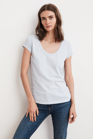 KIRA ORIGINAL SLUB SCOOP NECK TEE IN NINO