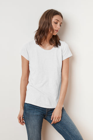TILLY ORIGINAL SLUB SHORT SLEEVE TEE IN WHITE