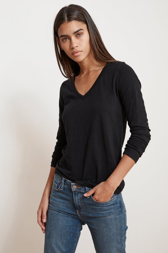 BLAIRE ORIGINAL SLUB TEE IN BLACK