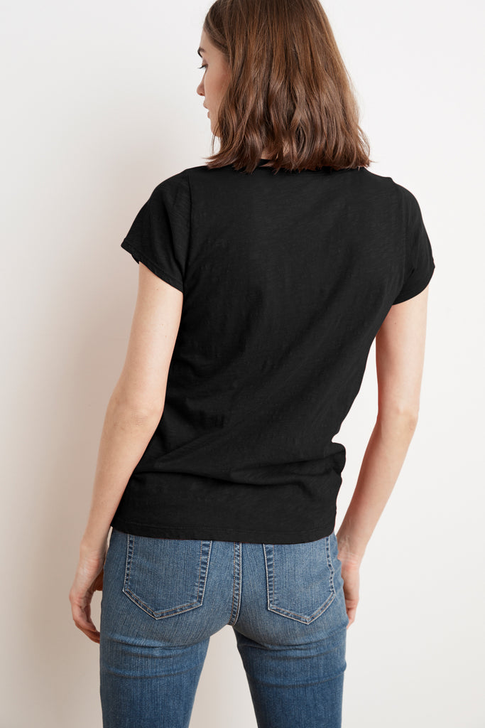 JILIAN ORIGINAL SLUB V-NECK TEE IN BLACK