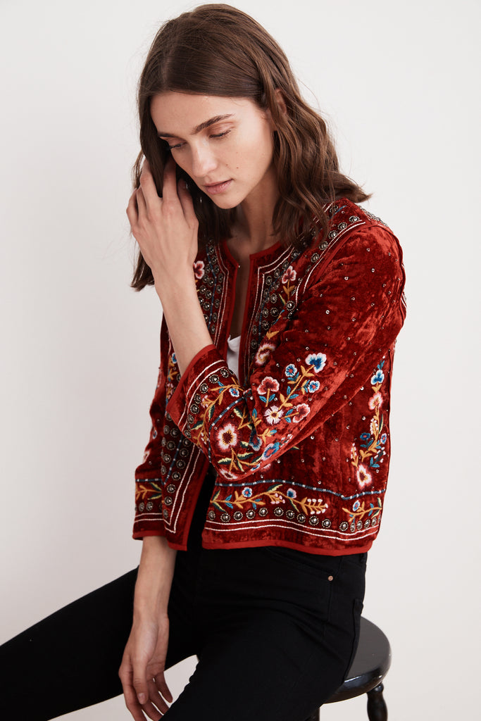 NITA VELVET EMBROIDERED JACKET IN MULTI