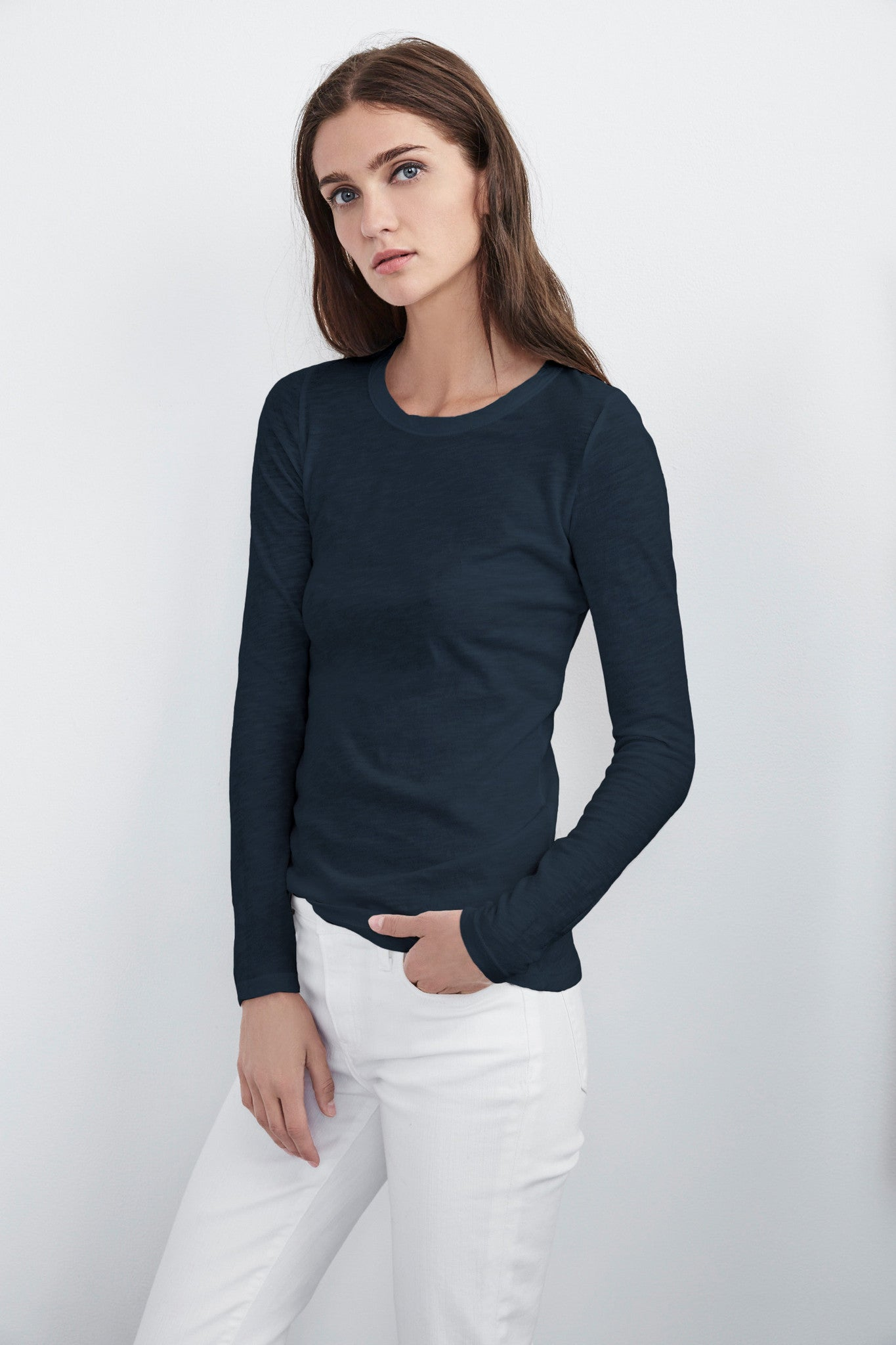 LIZZIE ORIGINAL SLUB LONG SLEEVE TEE IN CASTLE