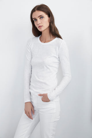 LIZZIE ORIGINAL SLUB LONG SLEEVE TEE IN WHITE