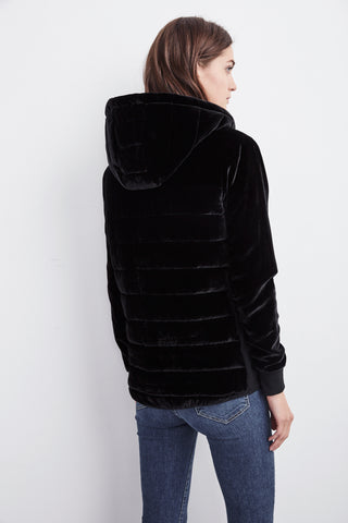 CAILY VELVET HOODED PUFFER JACKET IN BLACK