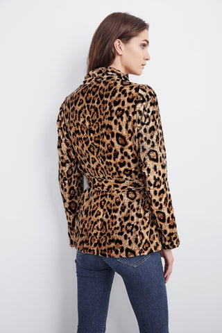 CALLA VELVET SMOKING JACKET IN LEOPARD