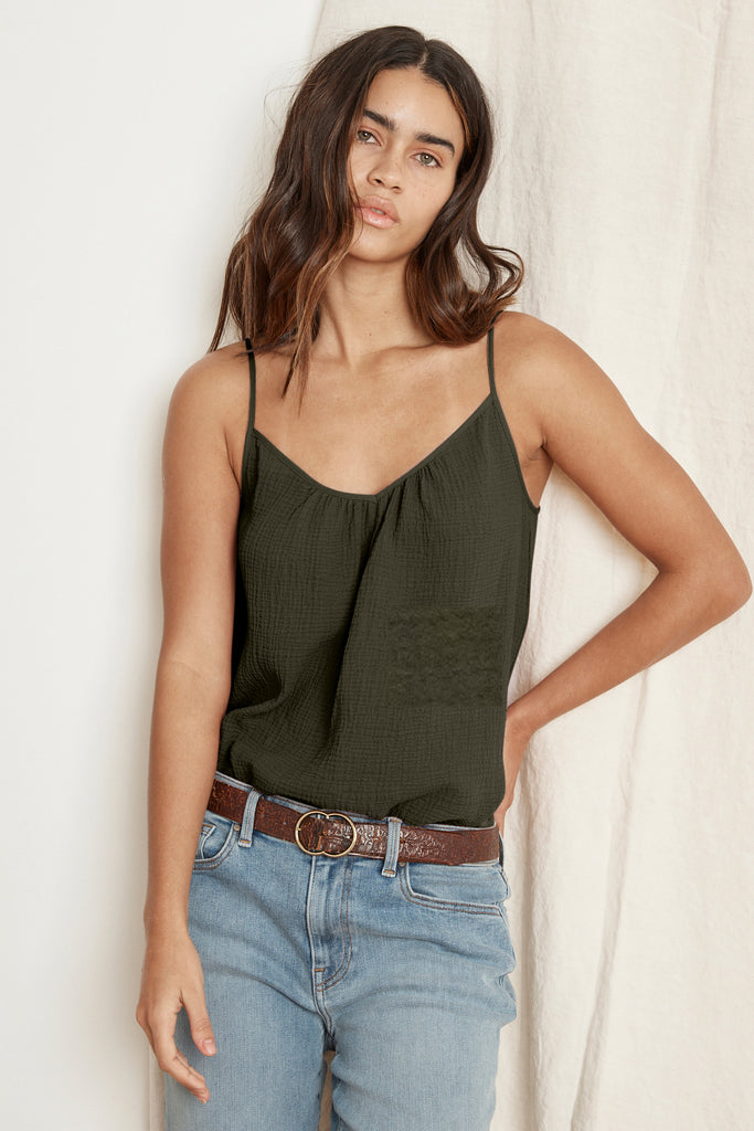 ALIVIA COTTON GAUZE CAMISOLE IN HEDGE