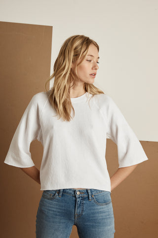 ABRIELLE ATHLEISURE VINTAGE TERRY TOP IN WHITE