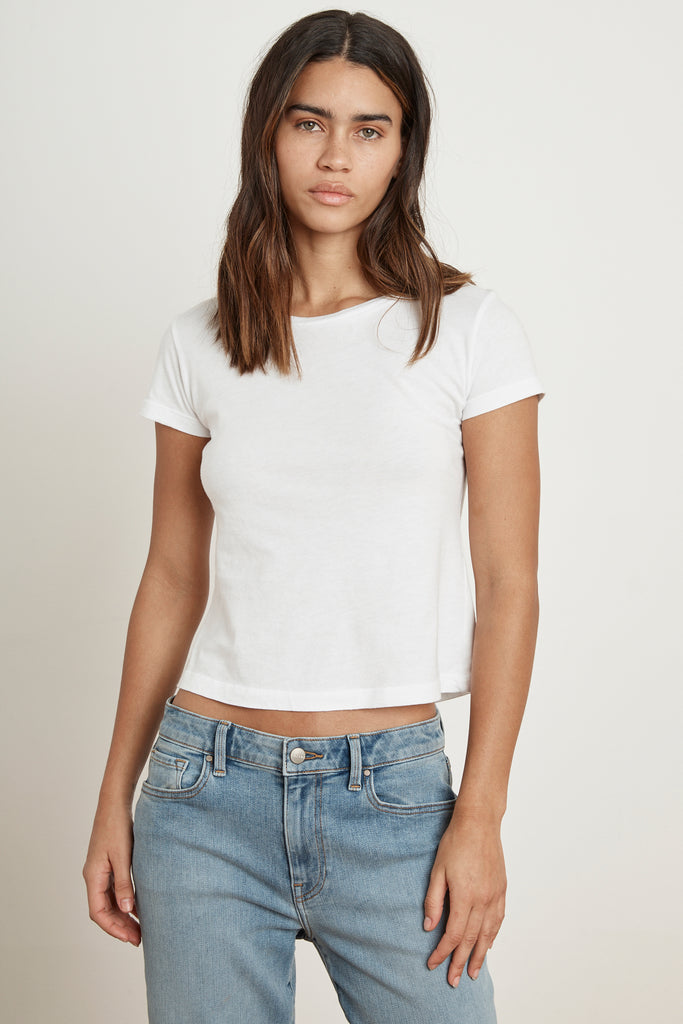 BOYGEORGE CREW NECK CROPPED TEE IN WHITE