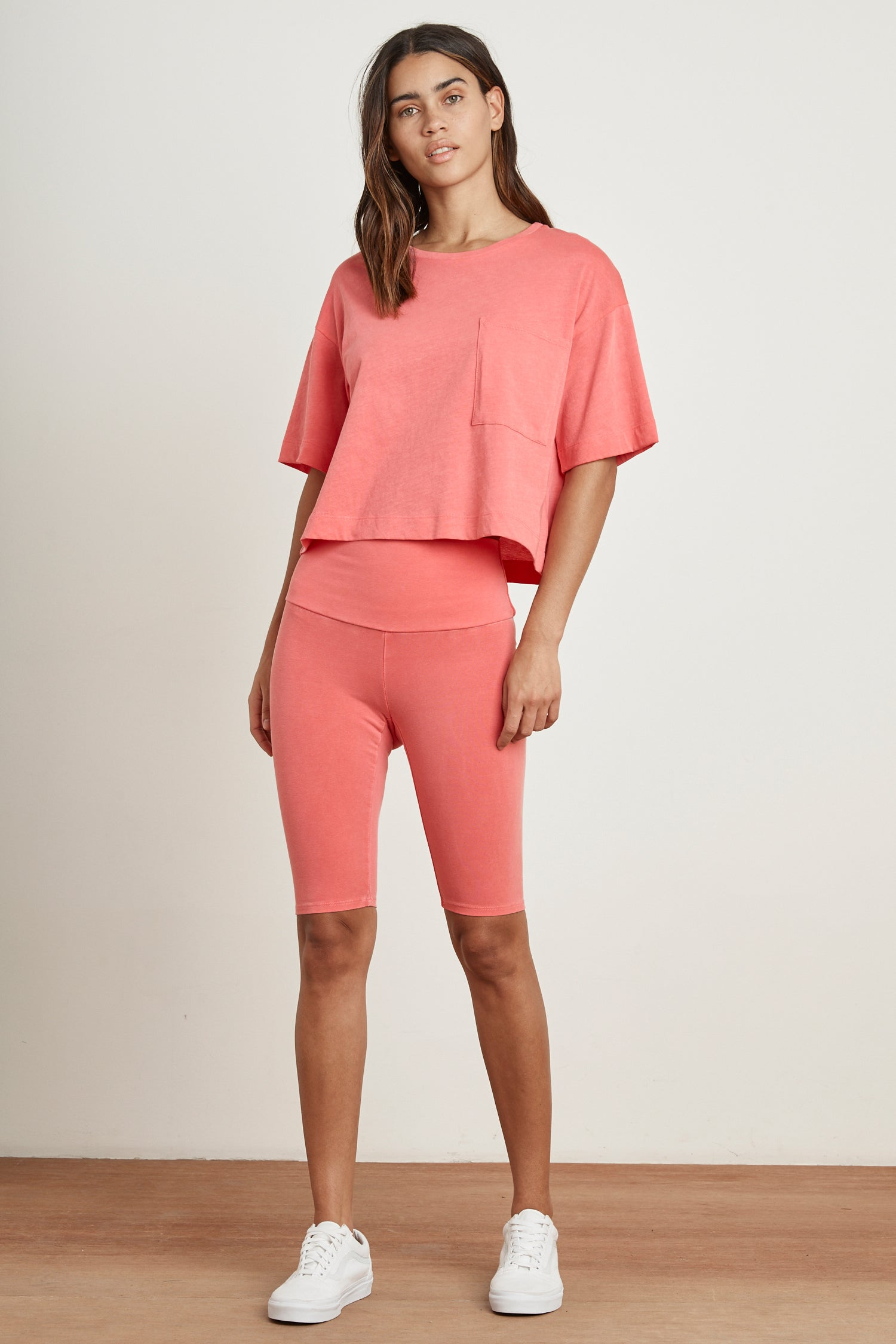 KOVEY DROP SHOULDER CROP TEE IN LOTUS