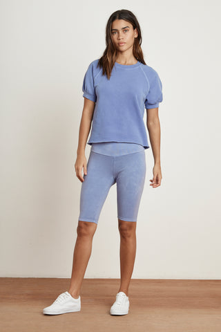 STACIA SHORT SLEEVE RAGLAN TERRY TOP IN DEWDROP