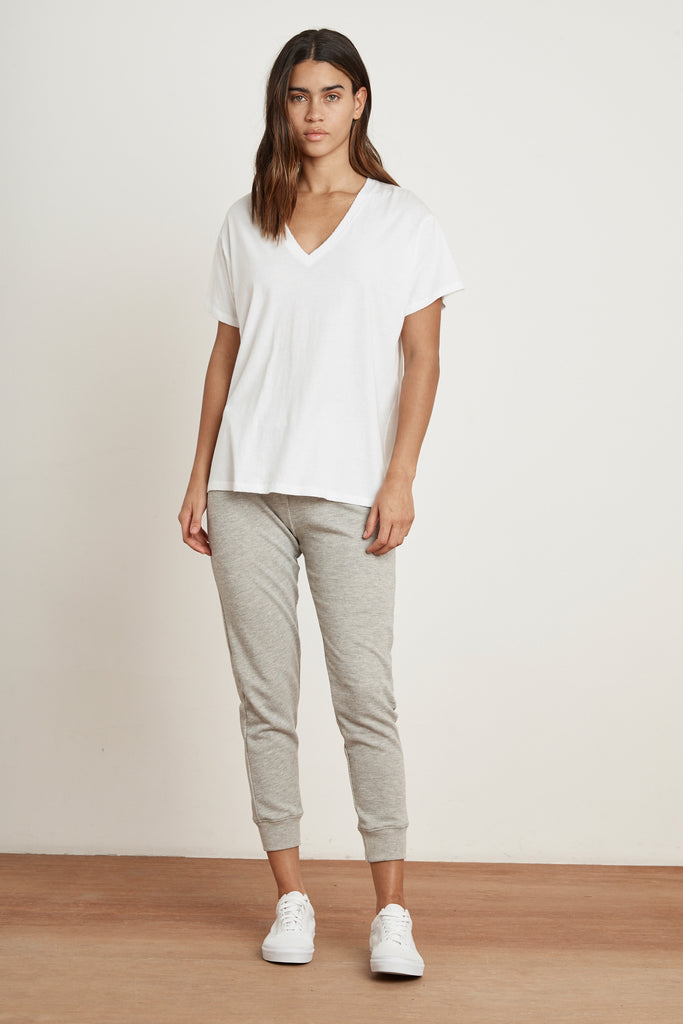 SYDNEY DISTRESSED WHISPER V-NECK TEE  IN WHITE