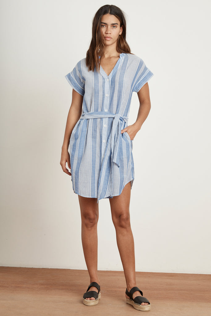 NOREEN BUTTON UP STRIPE DRESS IN BLUE