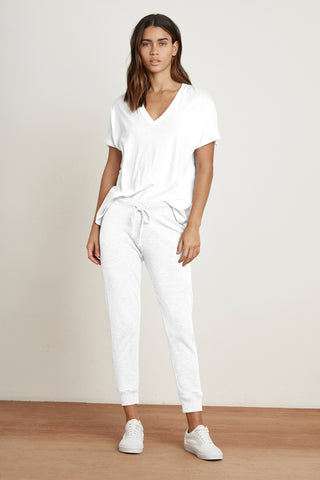 CACY VINTAGE TERRY JOGGER IN WHITE