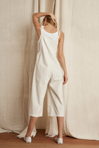 BRIANNA COTTON CANVAS JUMPSUIT IN ECRU