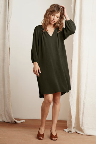 KANDRA COTTON GAUZE DRESS IN HEDGE