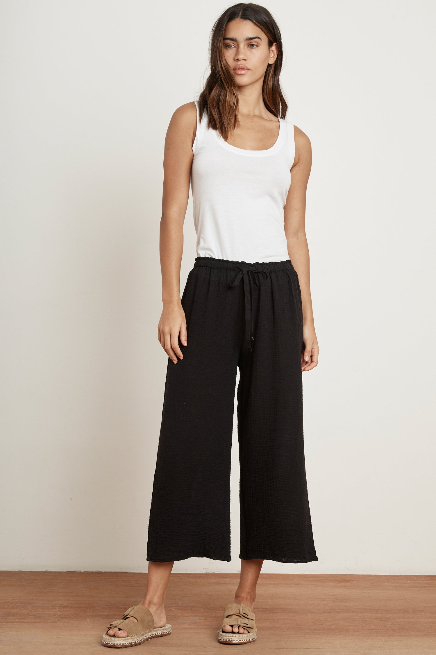 RAVYN COTTON GAUZE TROUSERS IN BLACK