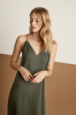 SHANNON COTTON GAUZE DRESS IN HEDGE
