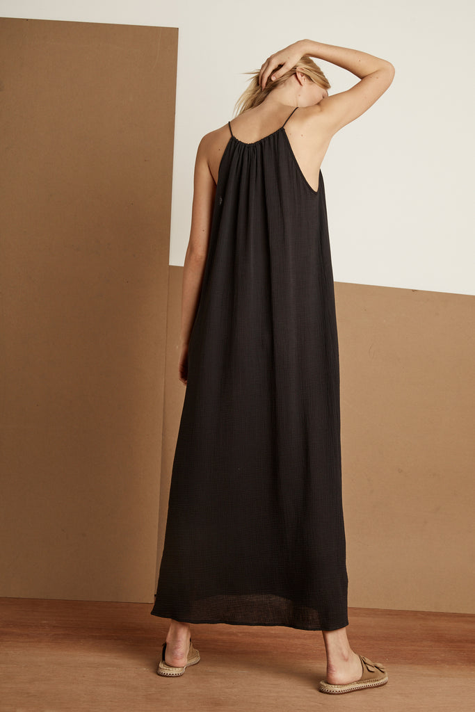 SHANNON COTTON GAUZE DRESS IN BLACK