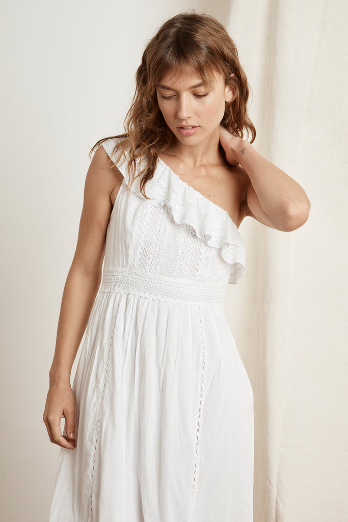 COCO COTTON LACE ONE SHOULDER DRESS IN WHITE