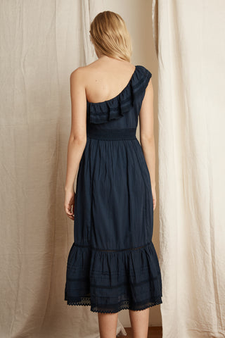 COCO COTTON LACE ONE SHOULDER DRESS IN NAVY