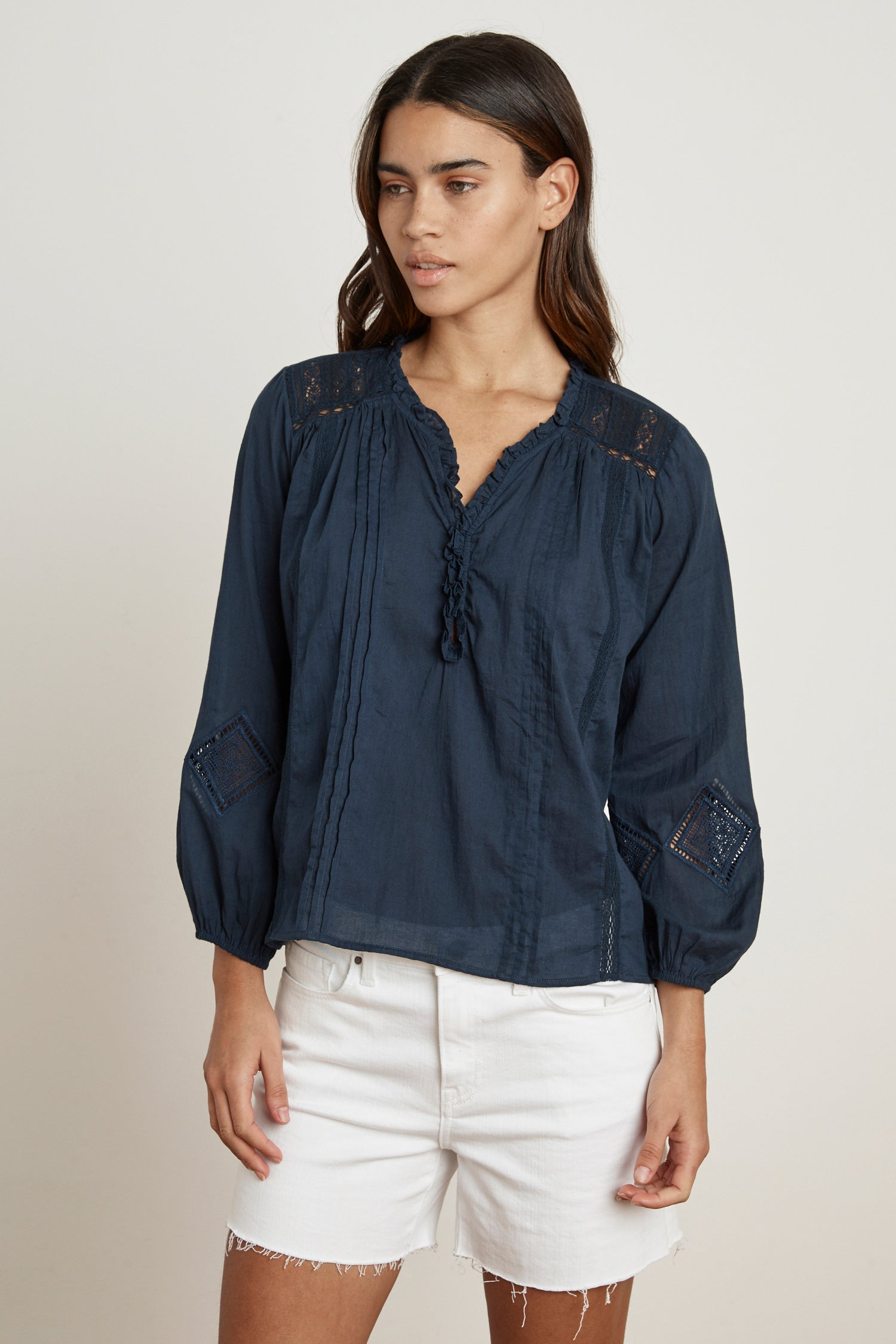 HOPE COTTON LACE BLOUSE IN NAVY