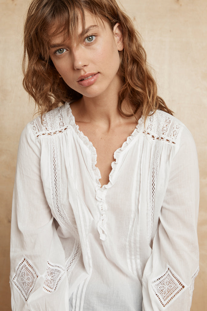 HOPE COTTON LACE BLOUSE IN WHITE