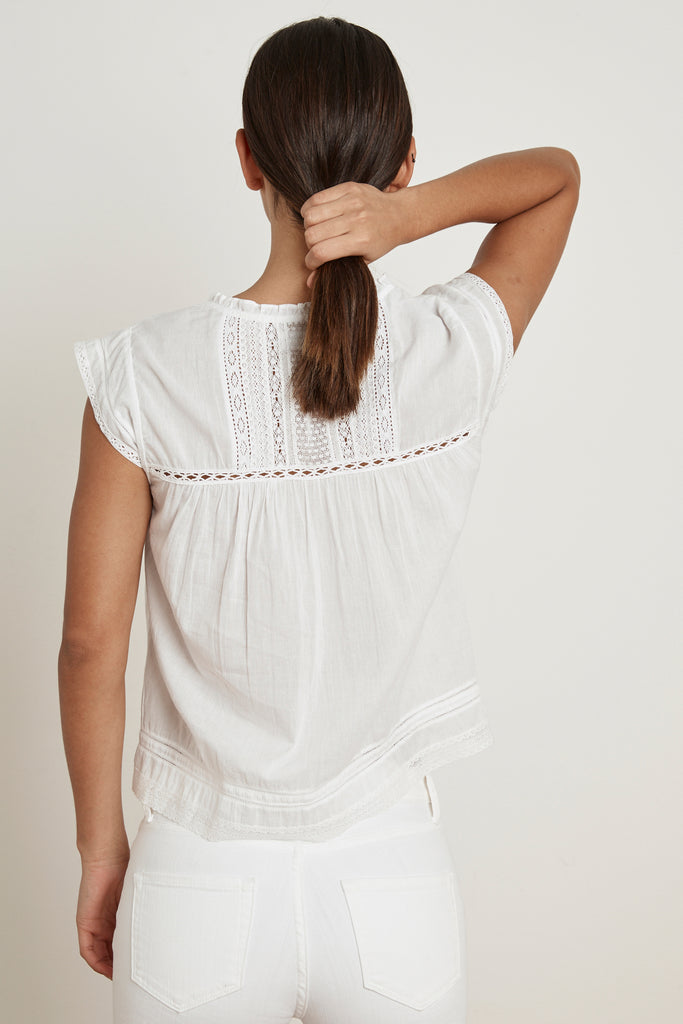 SKYE COTTON LACE TOP IN WHITE