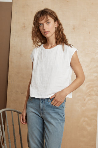 DANIELLA COTTON SLUB MIX TEE IN WHITE