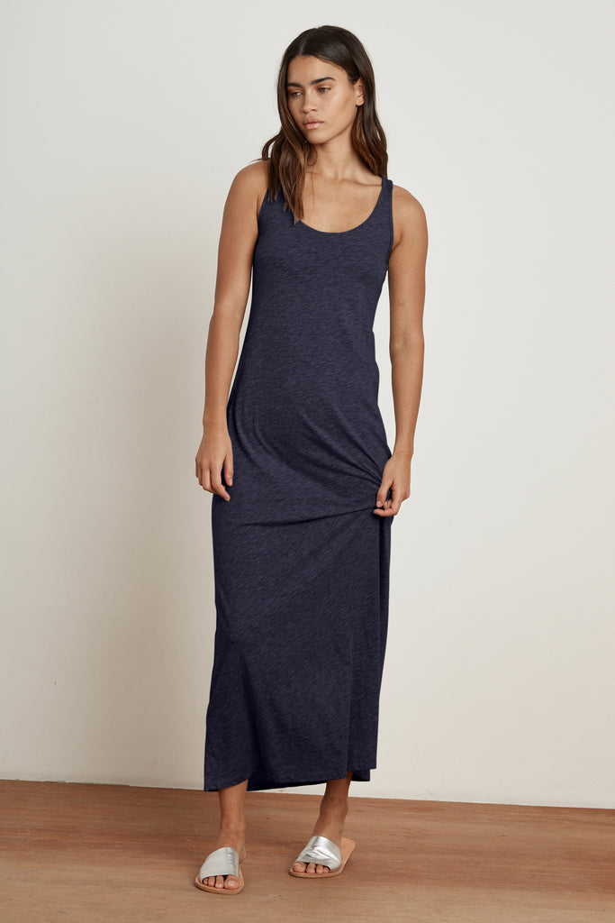 GENEVA COTTON SLUB MAXI DRESS IN INK