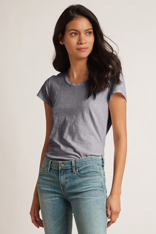 ODELIA COTTON SLUB CREW NECK TEE IN HEATHER GREY