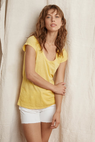 SUMETTE COTTON SLUB TEE IN BANANA