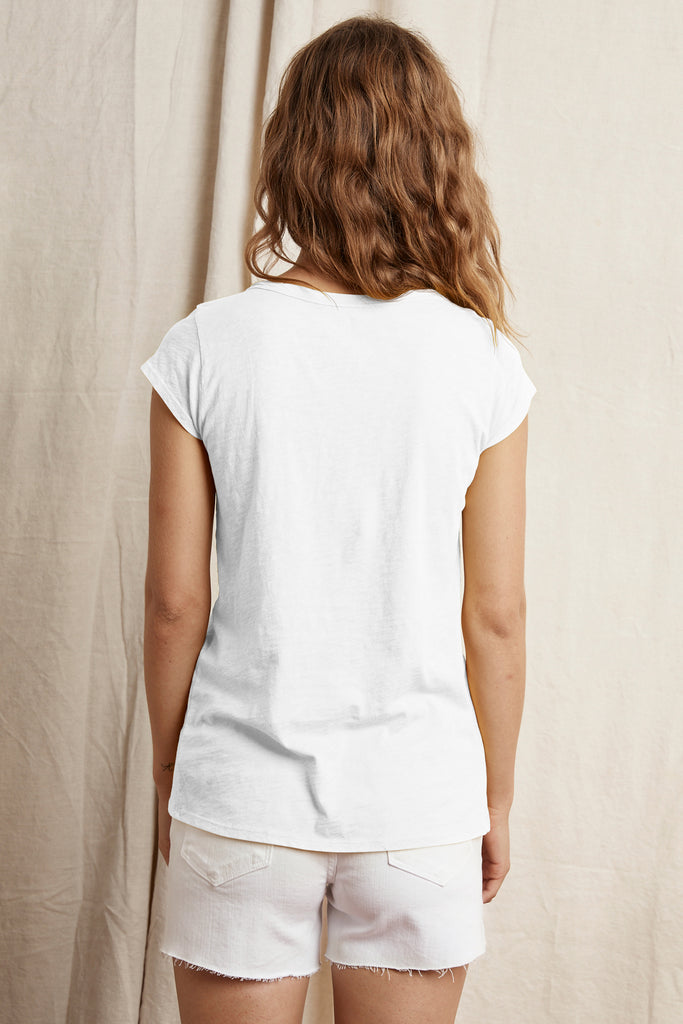 SUMETTE COTTON SLUB T-SHIRT IN WHITE