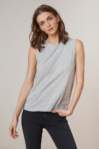 TAURUS COTTON SLUB TOP IN HEATHER GREY
